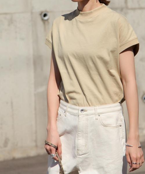 Chillfar(チルファー)の「しっかりコットンフレンチスリーブハイネックTシャツ/リブTシャツ(Tシャツ/カットソー)」|ベージュ