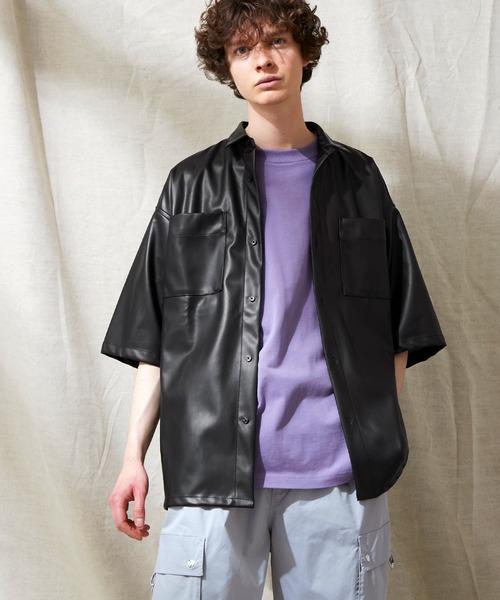 シンセティックレザー オーバーサイズダブルポケットシャツ EMMA CLOTHES 2021SS