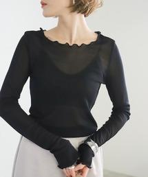 select MOCA(セレクトモカ)のパワーネットチュールカットソー/メロウデザインインナー(Tシャツ/カットソー)