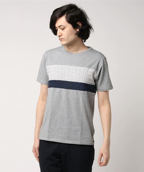 格子ニット切り替えTシャツ