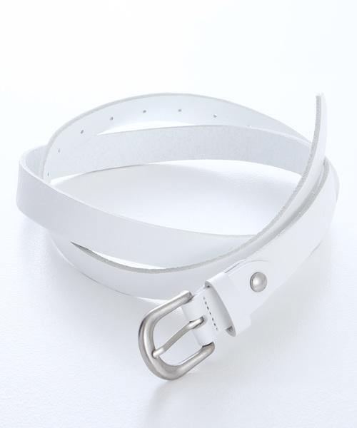 本革ロングナローベルト Real Leather Slim Belt