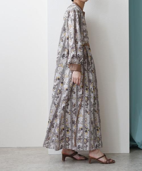 アフリカン更紗プリント バンドカラードレス