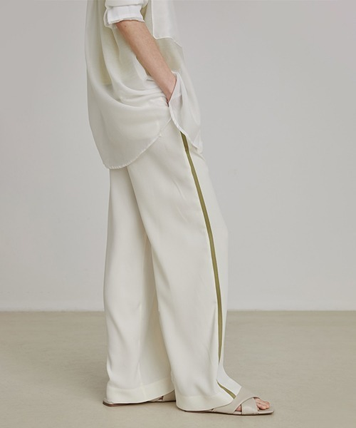 【UNSPOKEN】Line white pants UX20K001