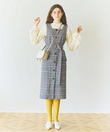 w closet(ダブルクローゼット)の前ボタン起毛チェックジャンスカ(ジャンパースカート)