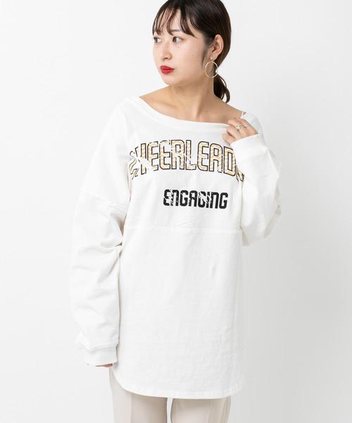 mystic(ミスティック)の「CHEERプリントロンT(Tシャツ/カットソー)」|ホワイト
