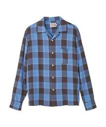 D.H.C.G刺繍 オープンカラーシャツブルー
