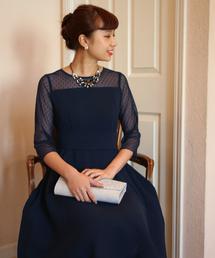 TRUDEA(トルディア)のドットチュールスリーブ ベルト付きフレアワンピースドレス(ドレス)