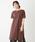 Discoat(ディスコート)の「USコットン裾スリットワンピース/ロングTシャツ/チュニック/ビッグTシャツ(ワンピース)」|ブラウン