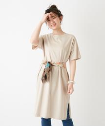 Discoat(ディスコート)のUSコットン裾スリットワンピース/ロングTシャツ/チュニック/ビッグTシャツ(ワンピース)