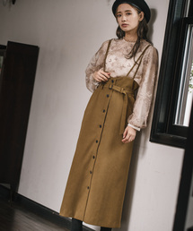 mysty woman(ミスティウーマン)の前ボタンナロージャンパースカート 856801(スカート)