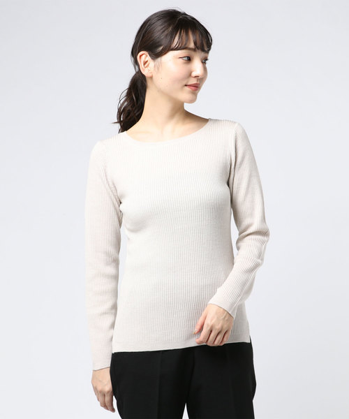 大特価 Rib sweater l/s boat neck pull, 印象のデザイン 92490f00