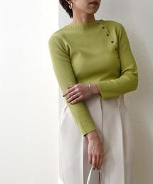 ゴム編み&袖リブ釦付き8分袖ニットライトグリーン
