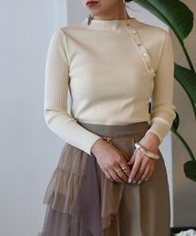 ゴム編み&袖リブ釦付き8分袖ニットアイボリー