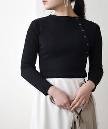 ゴム編み&袖リブ釦付き8分袖ニットブラック