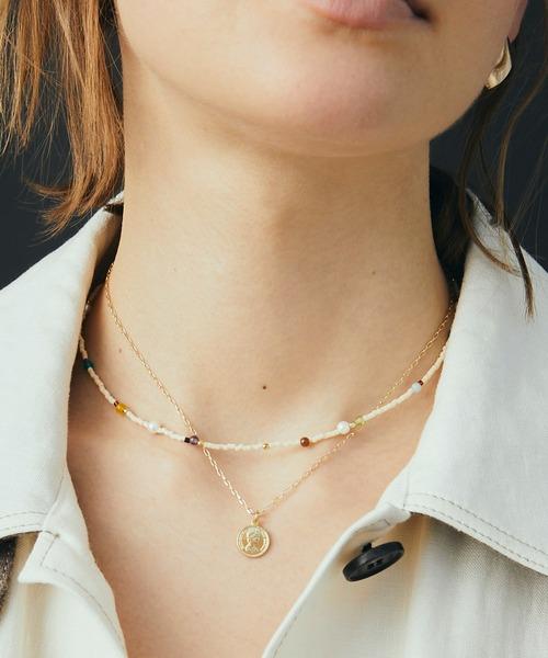 GOLDY(ゴールディ)の「ミックス カラー ビーズ & コイン レイヤード ネックレス(ネックレス)」|アイボリー