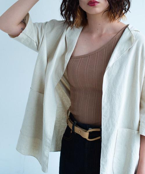 SIKI PRODUCT.(シキプロダクト)の「SIKI PRODUCT. リネンシャツジャケット(テーラードジャケット)」 ベージュ