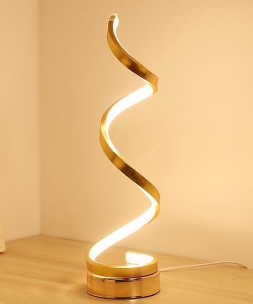 【3色変光】おしゃれなスパイラルポールLED間接照明テーブルランプ