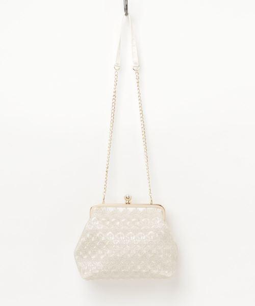 Dorry Doll(ドリードール)の「幾何学刺繍模様入りフォーマルクラッチバッグ(クラッチバッグ)」|ベージュ