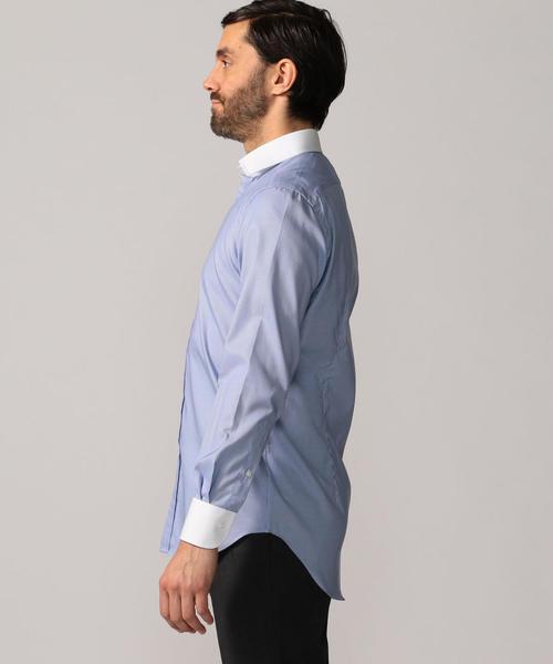 120/2コットンハウンドトゥース クレリック ワイドカラー ドレスシャツ NEW WIDE-3