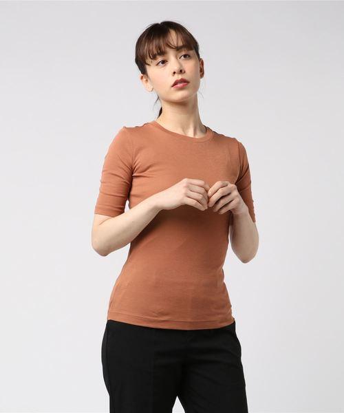 ピマコットン リブ エルボースリーブ クルーネックTシャツ