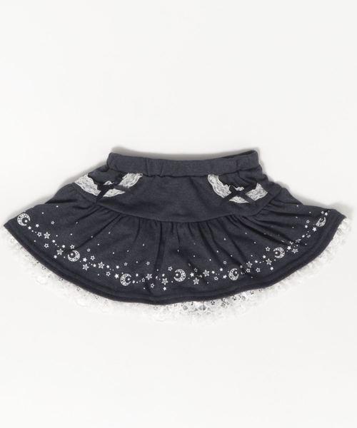 motherways(マザウェイズ)の「ガールズ 裾柄 1分丈パンツ付 スカート 全2柄(スカート)」|ネイビー