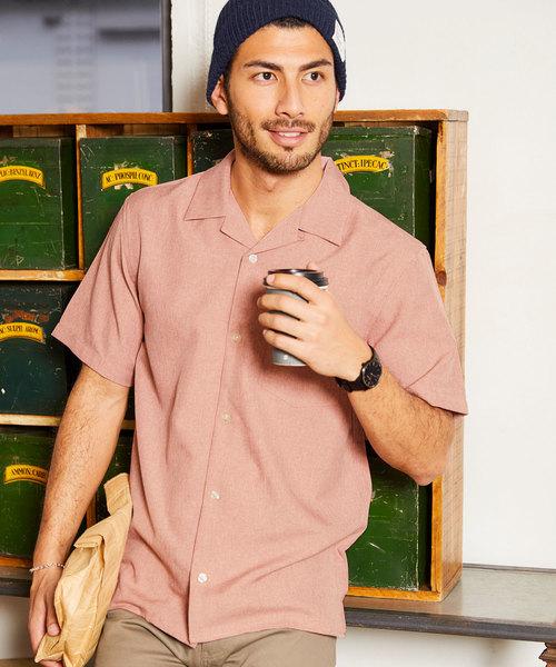 ポリトロ オープンカラー 半袖シャツ
