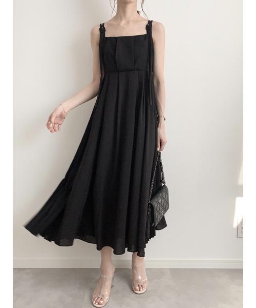 サイドプリーツキャミドレス