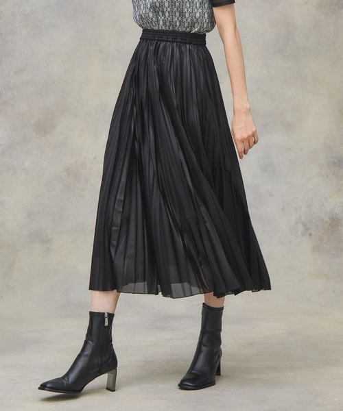 PUBLIC TOKYO(パブリックトウキョウ)の「カレンダーシアープリーツスカート(スカート)」|ブラック
