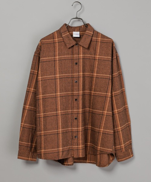 CIAOPANIC(チャオパニック)の「綿テンセルビエラチェックシャツ/ネルシャツ/ビッグシルエット/WEB限定カラーあり(シャツ/ブラウス)」|ブラウン