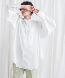 [CIENA]ショルダータックシアーボリュームバンドカラーシャツオフホワイト