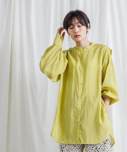 [CIENA]ショルダータックシアーボリュームバンドカラーシャツ