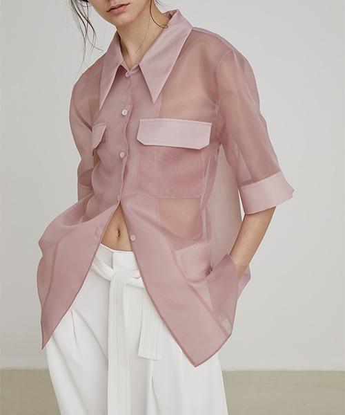 【UNSPOKEN】Sheer half-sleeve shirt UX20S003chw