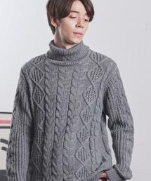 オーバーサイズアラン編みタートルネックケーブルニットセーター杢グレー