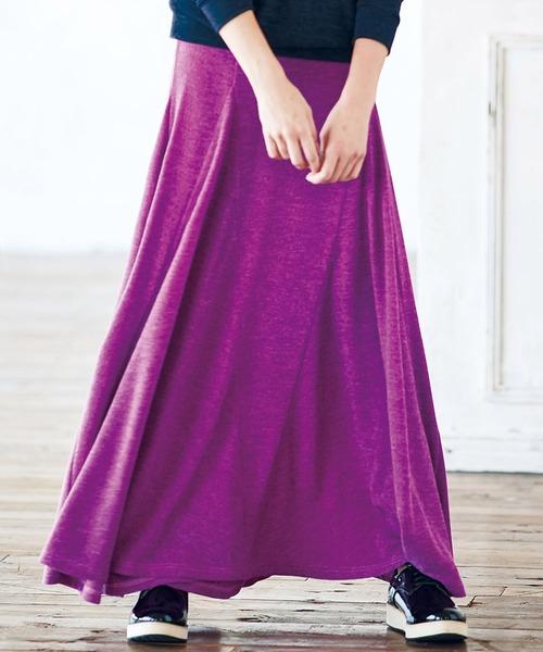 Ranan(ラナン)の「裾切替フレアーロングスカート(スカート)」|パープル