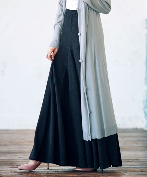 Ranan(ラナン)の「裾切替フレアーロングスカート(スカート)」|ブラック