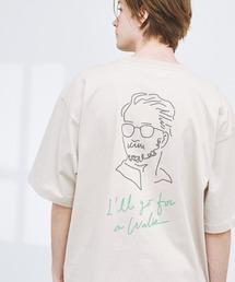 ビッグシルエット コットン天竺 アートデザイン半袖カットソー EMMA CLOTHES 2021SUMMERベージュ系その他