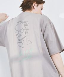 ビッグシルエット コットン天竺 アートデザイン半袖カットソー EMMA CLOTHES 2021SUMMERパープル系その他