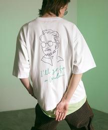 ビッグシルエット コットン天竺 アートデザイン半袖カットソー EMMA CLOTHES 2021SUMMERホワイト
