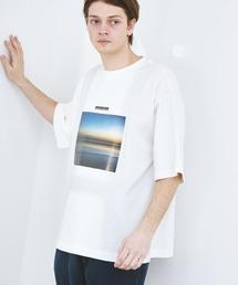 ビッグシルエット コットン天竺 アートデザイン半袖カットソー EMMA CLOTHES 2021SUMMERホワイト系その他2