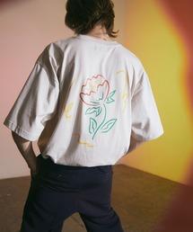 ビッグシルエット コットン天竺 アートデザイン半袖カットソー EMMA CLOTHES 2021SUMMERベージュ系その他2