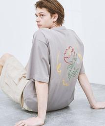 ビッグシルエット コットン天竺 アートデザイン半袖カットソー EMMA CLOTHES 2021SUMMERパープル系その他2