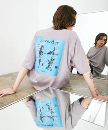 ビッグシルエット コットン天竺 アートデザイン半袖カットソー EMMA CLOTHES 2021SUMMERパープル系その他4