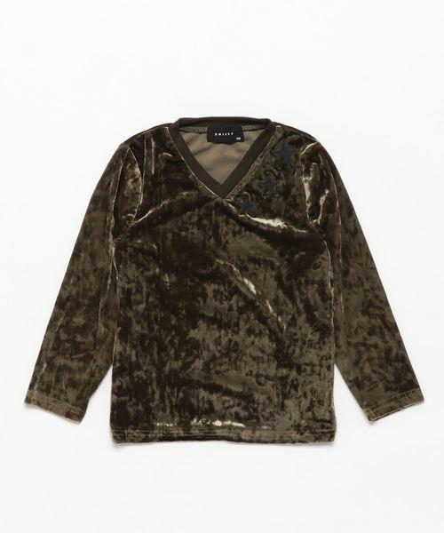 クラッシュベロア 星刺繍 Vネック長袖Tシャツ キッズ