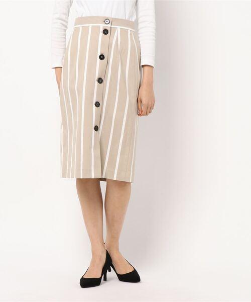 ROPE' PICNIC(ロペピクニック)の「前釦Iラインストライプスカート(スカート)」|ベージュ