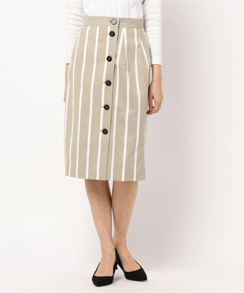 ROPE' PICNIC(ロペピクニック)の「前釦Iラインストライプスカート(スカート)」 カーキ