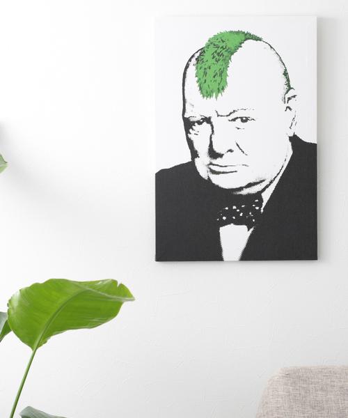 ABBEY MARKET(アビーマーケット)の「バンクシー アートキャンバス(インテリア雑貨)」|ホワイト×グリーン