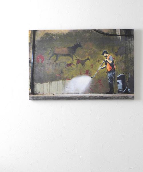 ABBEY MARKET(アビーマーケット)の「バンクシー アートキャンバス(インテリア雑貨)」|グリーン系その他