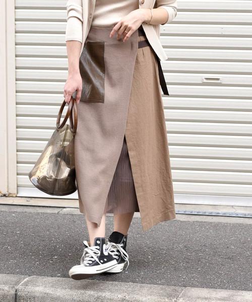【Eimee Law】リネン×チュールポケットデザインベルトスカート