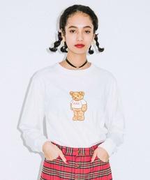 X-girl(エックスガール)のX-girl BEAR L/S REGULAR TEE(Tシャツ/カットソー)
