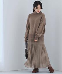 [ 手洗い可 ] FFC ハイネック プルオーバー ニット + スカート セット